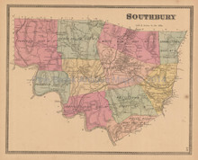 Southbury Connecticut Antique Map Beers 1868