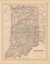 Indiana Antique Map Colton 1858