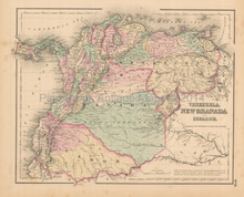 Colombia Venezuela Antique Map Colton 1858