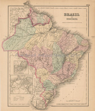 Brazil Guiana Antique Map Colton 1858