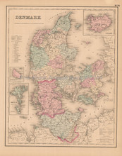 Denmark Antique Map Colton 1858