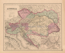 Austrian Empire Antique Map Colton 1858
