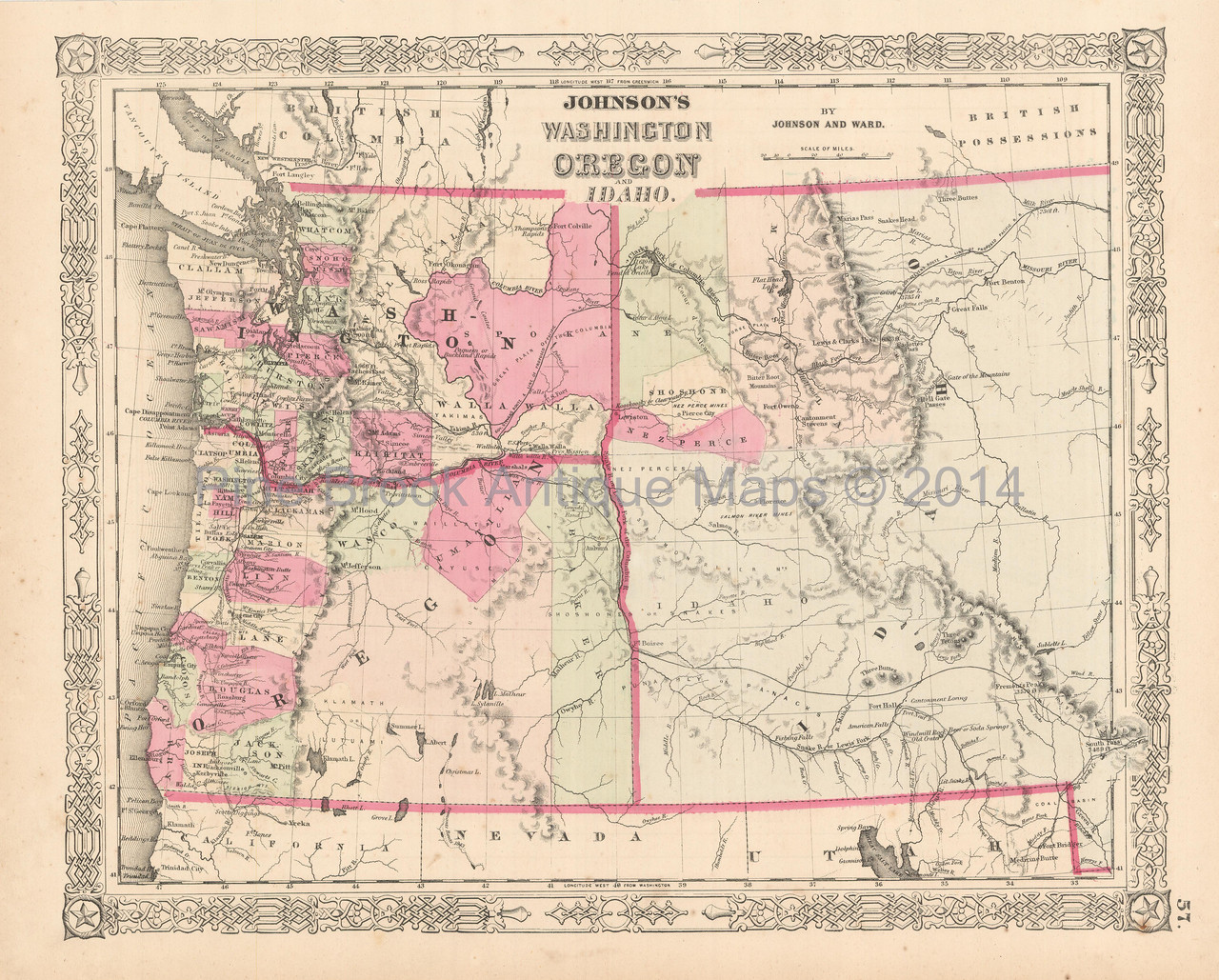Washington Idaho Oregon Territory Antique Map Johnson 1864 Pine