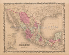 Mexico Tehuantepec Texas Antique Map Johnson 1864