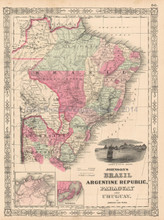 Brazil Argentina Antique Map Johnson 1864