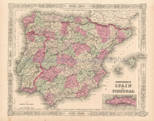 Spain Portugal Iberia Antique Map Johnson 1864