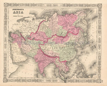 Asian Continent Antique Map Johnson 1864