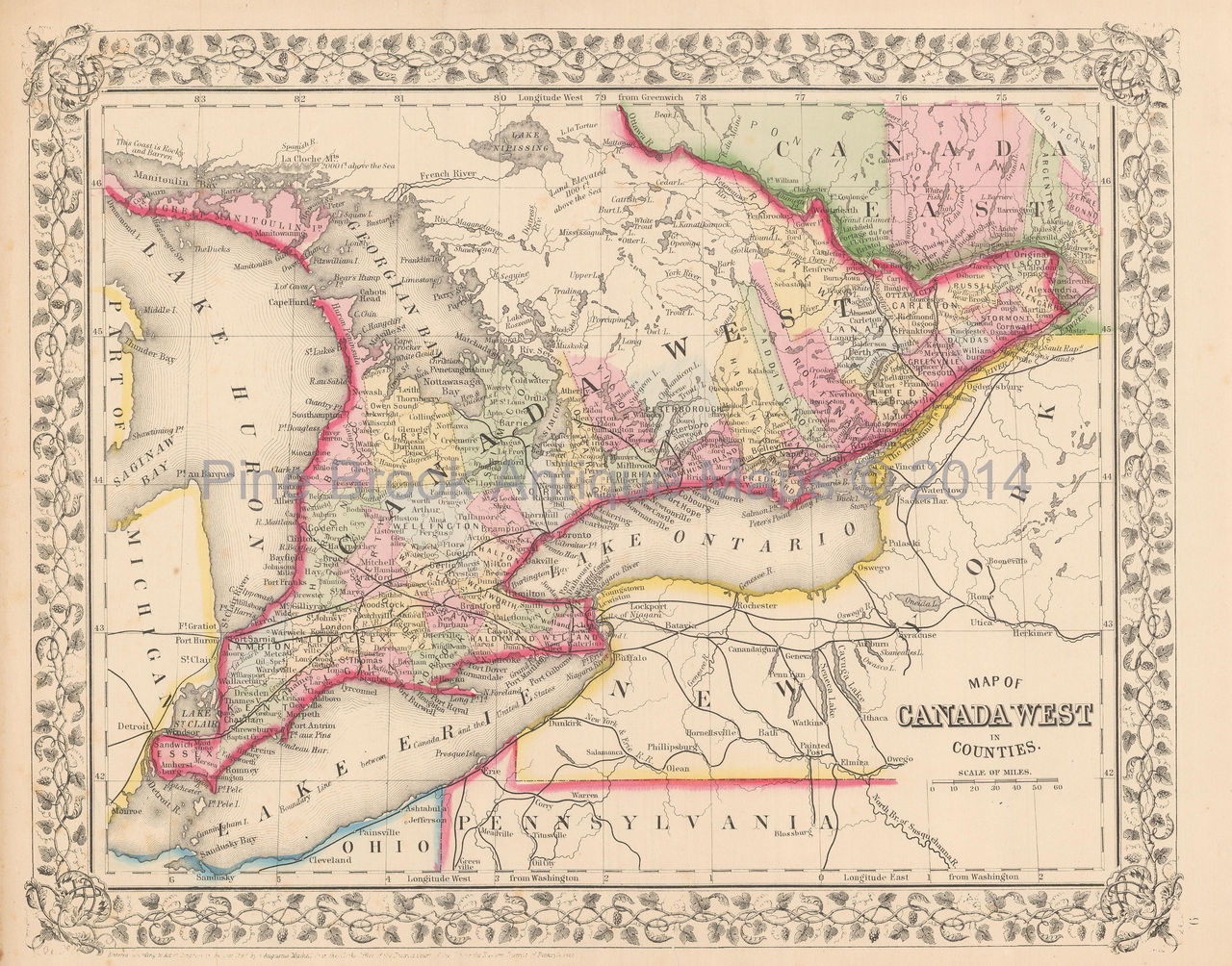 West Of Canada Map.Canada West Ontario Antique Map Mitchell 1867