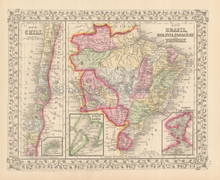 Brazil Chile Antique Map Mitchell 1867