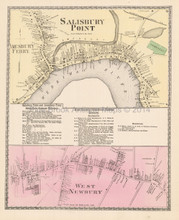 Salisbury Point Massachusetts Antique Map Beers 1872