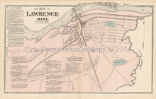 South Lawrence Massachusetts Antique Map Beers 1872