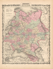 Russia In Europe Antique Map Johnson 1861
