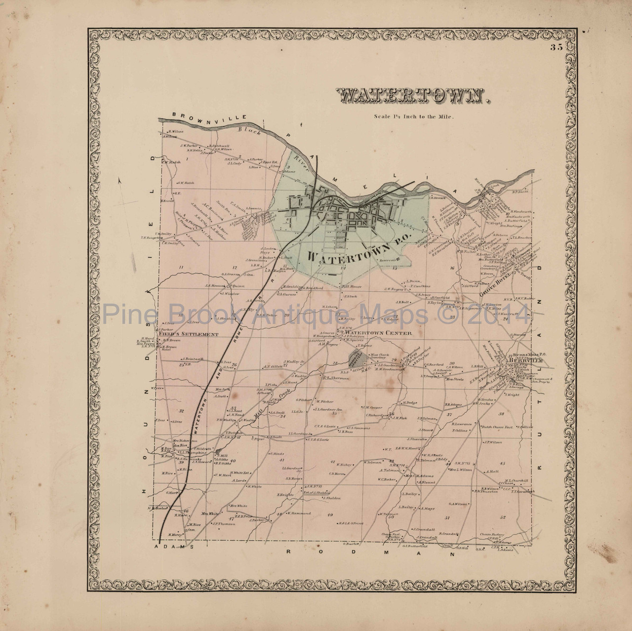 Watertown Township New York Antique Map Beers 1864