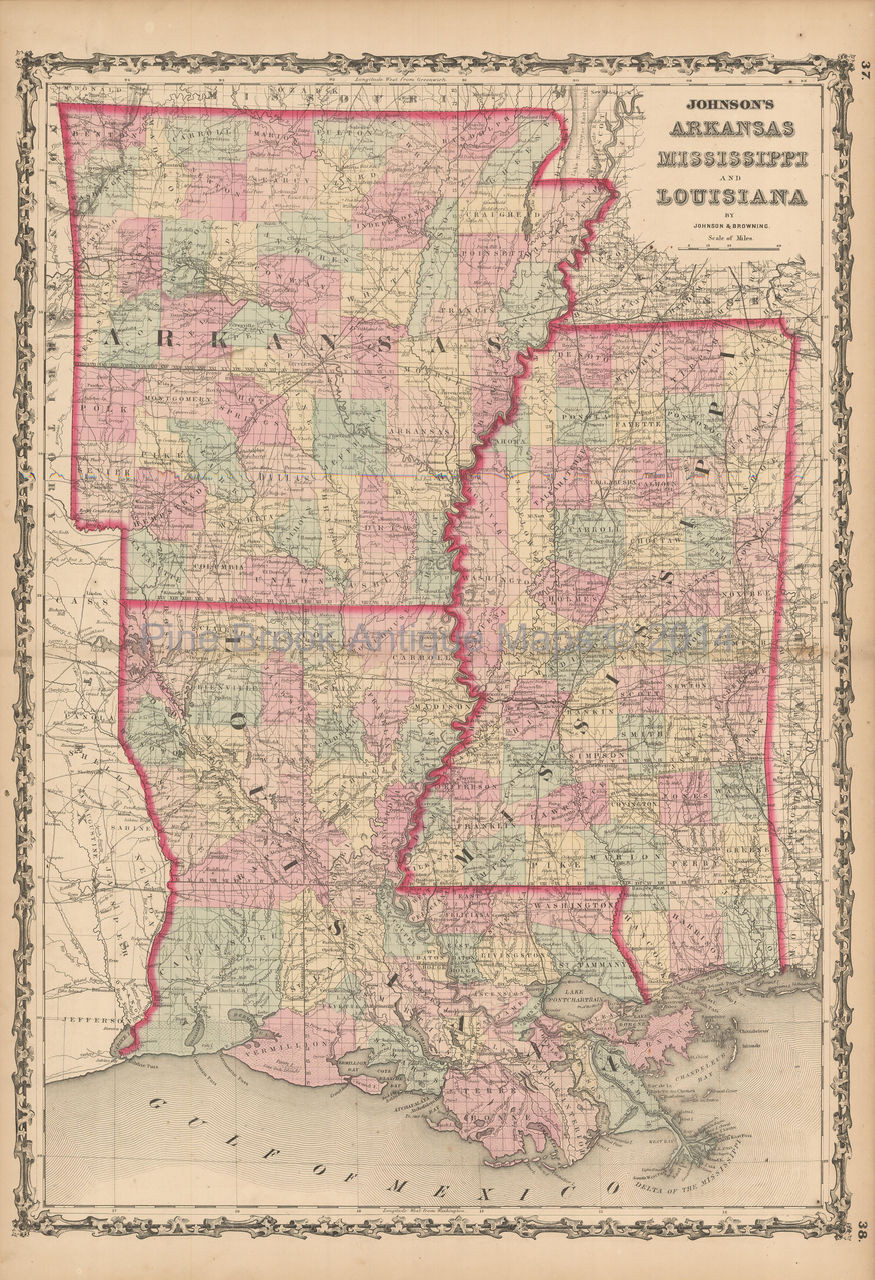Arkansas Mississippi Louisiana Antique Map Johnson 1861 on louisiana's map, maryland's map, kentucky's map, maine's map, oklahoma's map, mississippi regions map, ms road map, georgia's map, michigan's map, indiana's map, missouri's map, new mexico's map, mississippi county map, mississippi state map, new jersey's map,