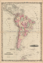 South American Continent Antique Map Johnson 1861