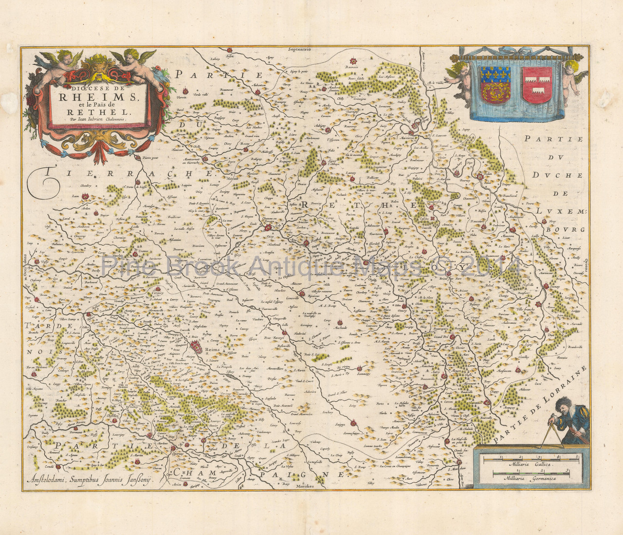 Reims France Antique Map Jansson 1640 - Pine Brook Antique Maps