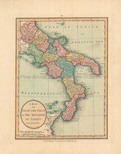 Southern Italy Antique Map Laurie & Whittle 1802