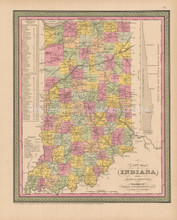 Indiana Antique Map Cowperthwait 1853