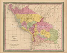 Peru Bolivia Antique Map Cowperthwait 1853