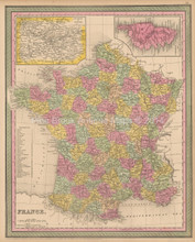France Antique Map Cowperthwait 1853