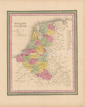 Holland Belgium Antique Map Cowperthwait 1853
