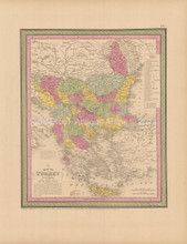 Turkey In Europe Antique Map Cowperthwait 1853