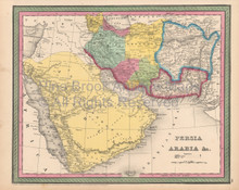 Persia Arabia Antique Map Cowperthwait 1853