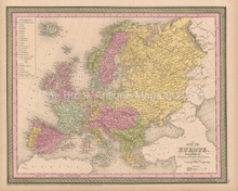 European Continent Antique Map Cowperthwait 1853