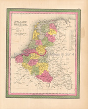 Belgium Holland Antique Map Mitchell 1846