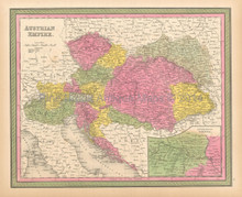 Austrian Empire Antique Map Mitchell 1846