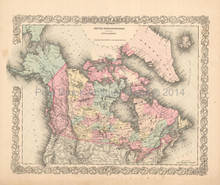 Northern America Antique Map Colton 1855