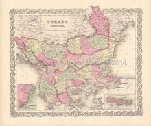 Turkey In Europe Antique Map Colton 1855
