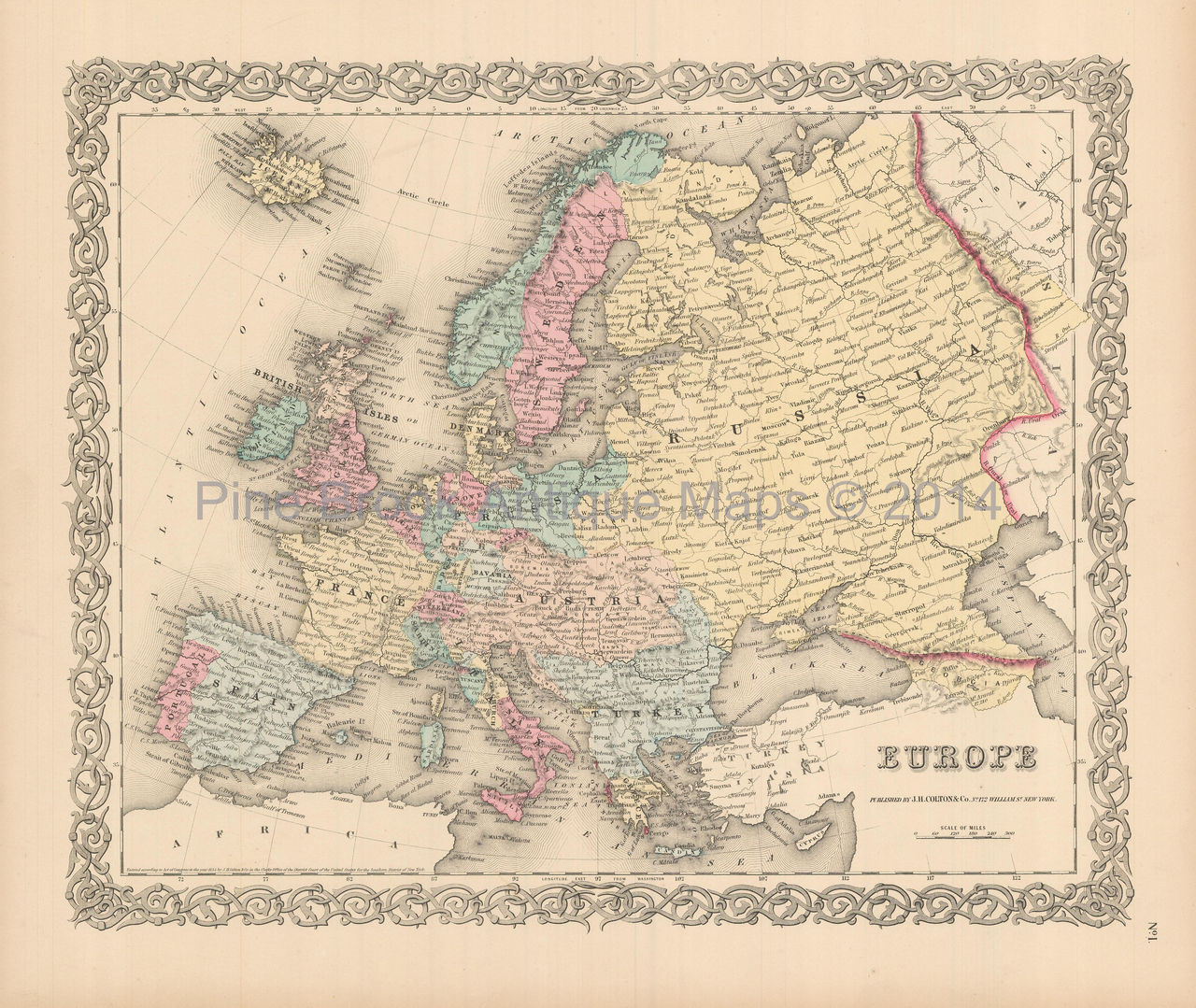 Map Of Europe For Sale.European Continent Antique Map Colton 1855 For Sale Authentic