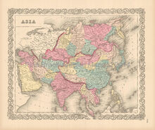 Asian Continent Antique Map Colton 1855