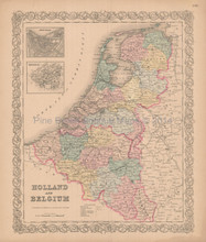 Holland Belgium Antique Map Colton 1856