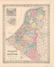 Belgium Holland Antique Map Colton 1855