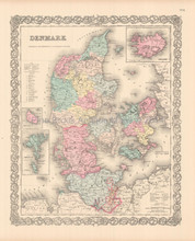 Denmark Iceland Antique Map Colton 1855