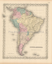 South American Continent Antique Map Colton 1855