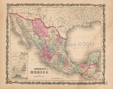 Mexico Antique Map Johnson 1862
