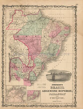 Brazil Argentine Republic Antique Map Johnson 1862