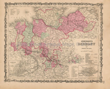 Germany No. 1 Antique Map Johnson 1862