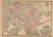 Austria Turkey Antique Map Johnson 1862