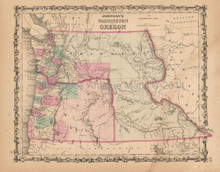Washington Oregon Antique Map Johnson 1862