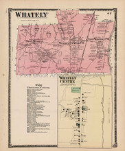 Antique Map Whately Centre Massachusetts Beers 1871