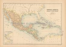 Central America Antique Map Black 1865