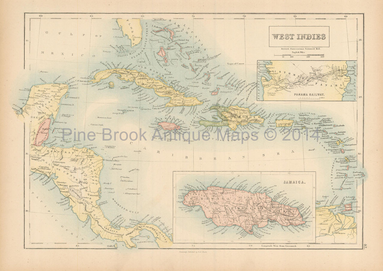 West Indies Antique Map Black 1865 - Pine Brook Antique Maps