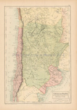 Chili La Plata Antique Map Black 1865