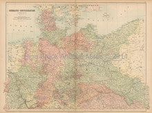 Germanic Confederation North Antique Map Black 1865