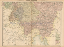 Germanic Confederation South Antique Map Black 1865