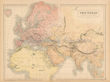 World Known To Ancients Antique Map Black 1865
